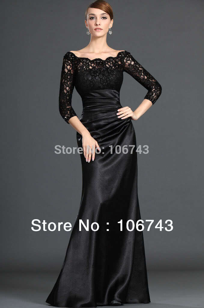 Free Shipping 2018 New Vestidos De Formatura Curto Black Lace Long-Sleeve Prom Evening Gown Custom  Mother Of The Bride Dresses