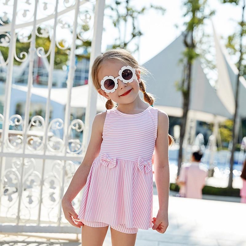 Новинка 2019 года; стильная детская одежда для купания в полоску с бантом; юбка-шорты; детский купальник для маленьких детей