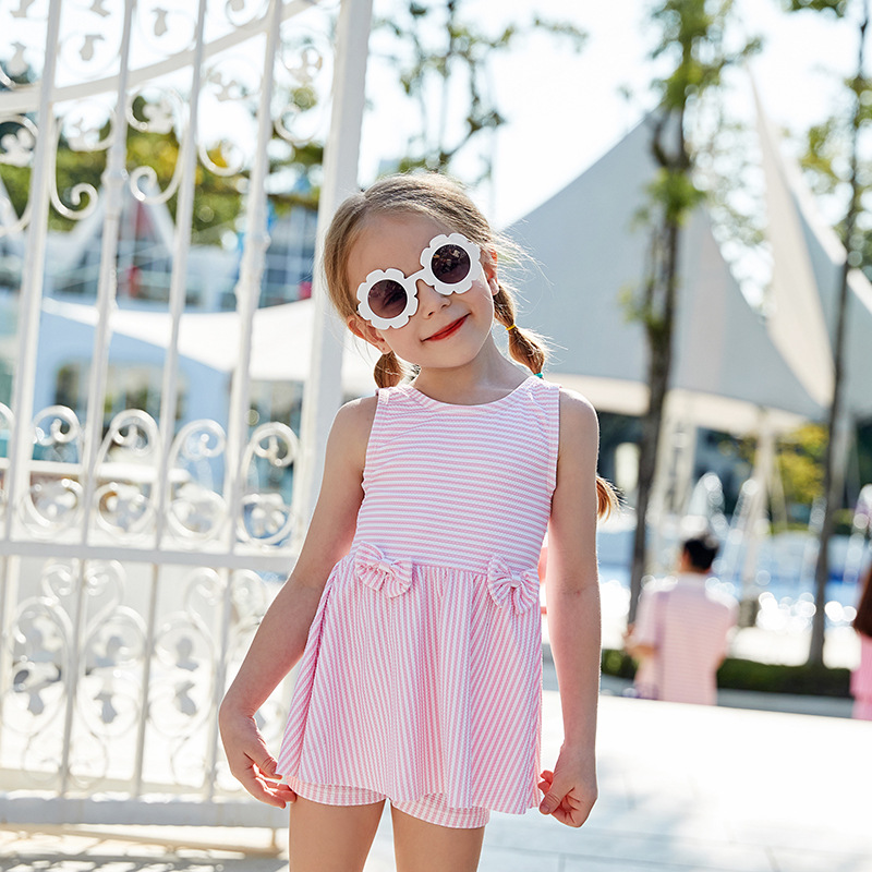 2019 New Style Miss Sunshine KID'S Swimwear Cute Stripes Bow Boxers Skirt Small CHILDREN'S WOMEN'S Swimsuit