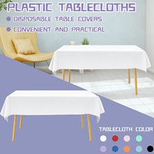 40@ Plastic Disposable Solid Color Tablecloth Birthday Party Wedding Christmas Table Cover Wipe Cover Rectangle Desk Cloth Decor