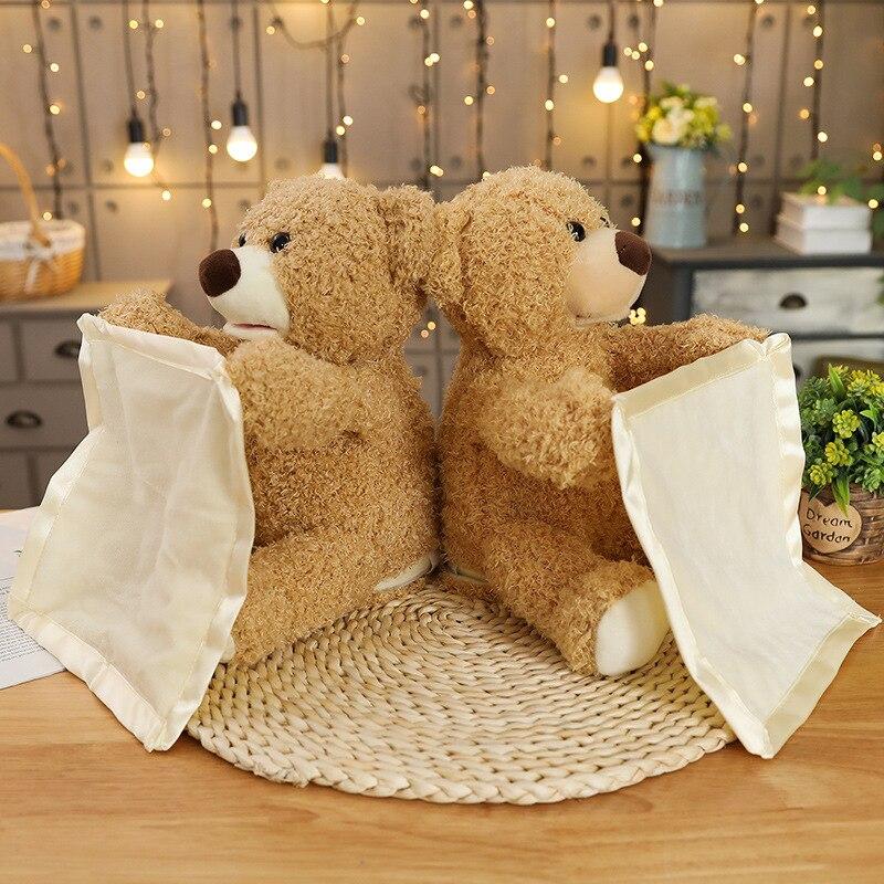 30cm adorável dos desenhos animados peek boo urso de pelúcia jogar esconder procurar recheado crianças aniversário presente de natal bonito música elétrica urso brinquedo de pelúcia