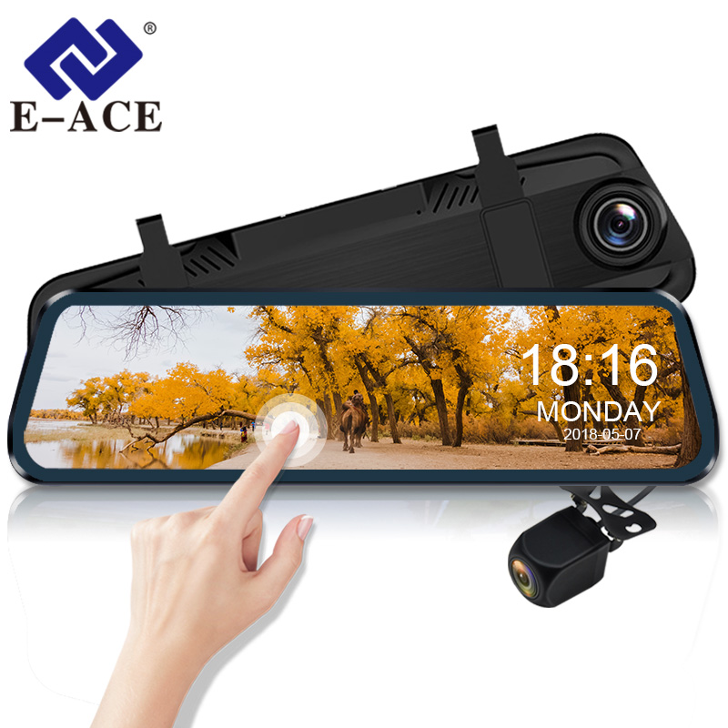 E-ACE Car Dvr Camera 10 Inch Streaming RearView Mirror Dash Cam FHD 1080P Auto Registrar Video Recorder With Rear View Camera
