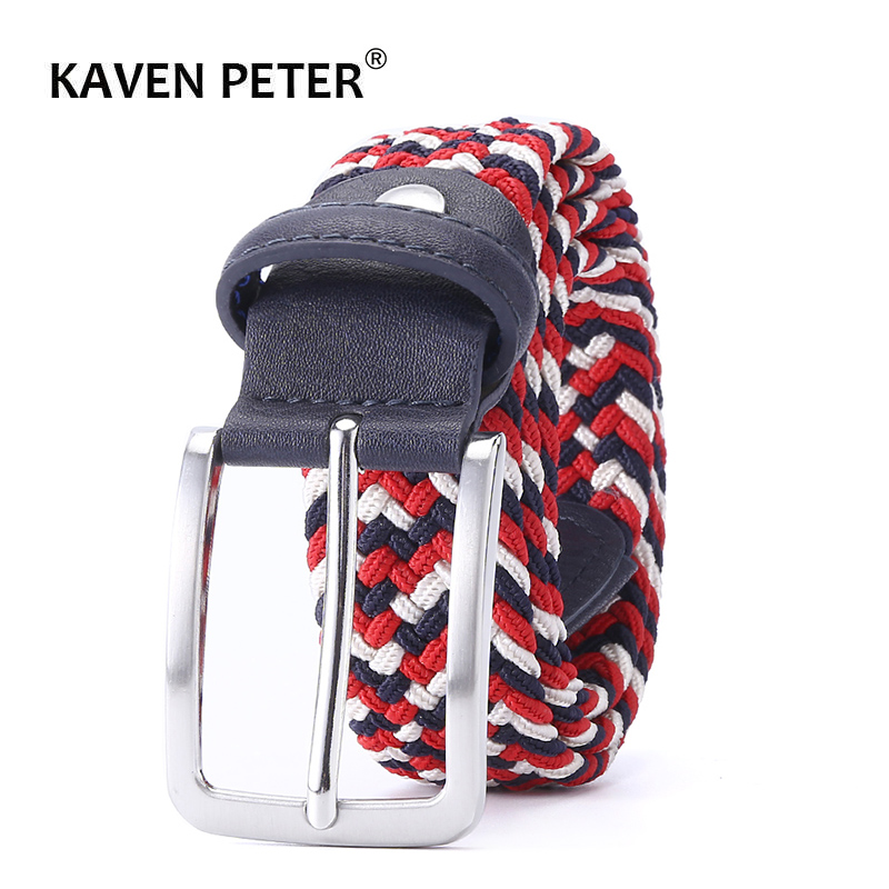 Belt Elastic For Men Golf  Leather Belt Male Canvas Stretch Braided Elastic Waist Belt 1-3/8