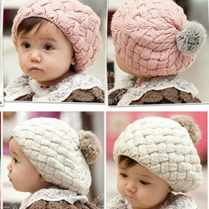 Korean version of autumn and winter girls Beray hat baby wool hair ball twist children