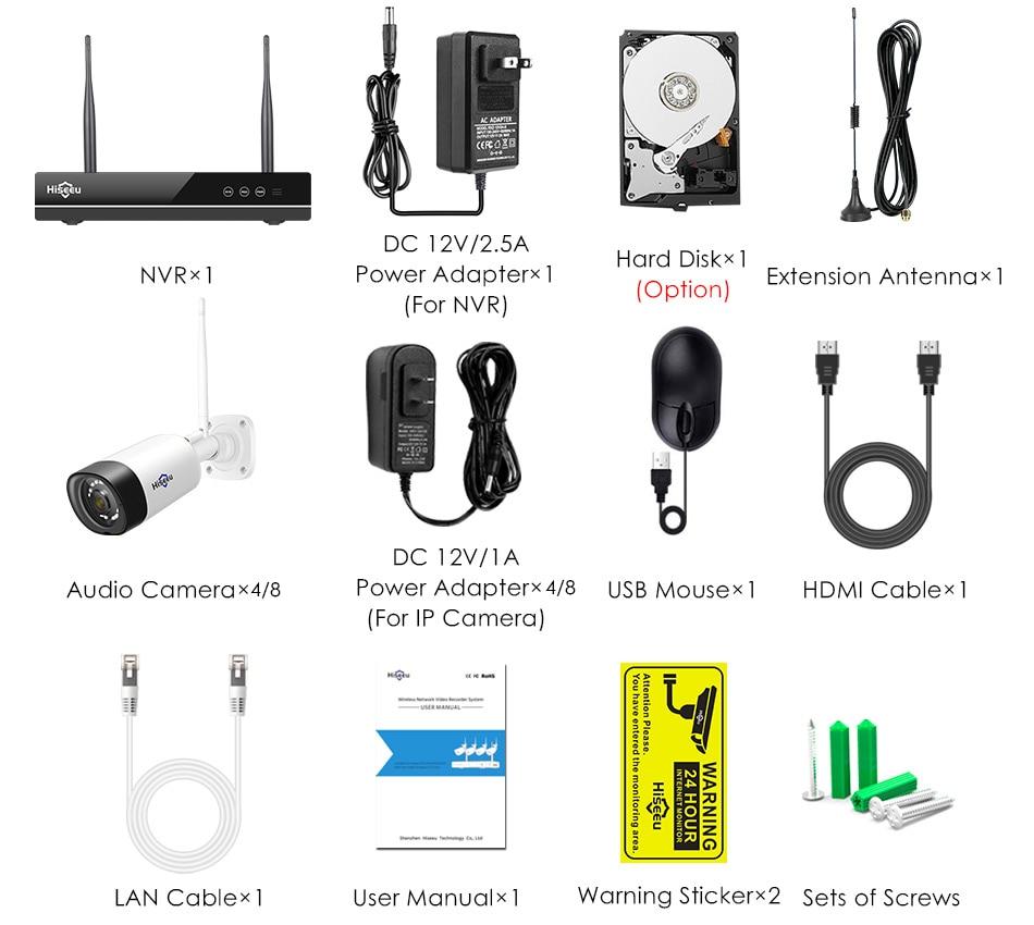 Hiseeu trådlöst CCTV-kamerasystem 1080P 8ch 2MP IP-kamera Audio - Säkerhet och skydd - Foto 6