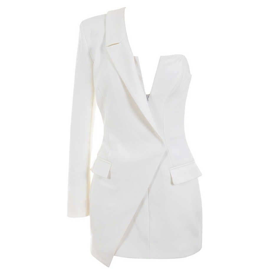 2019 новое женское мини-платье высокого качества Белое черное с длинным рукавом на одно плечо элегантное модное сексуальное платье вечернее платье