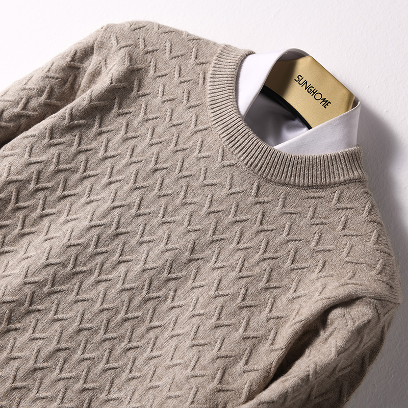 2019 High Quality Man Sweaters Cashmere And Wool Knitting Jumpers Men Winter O-neck Pullovers Textured Sweater Fashion Sweat