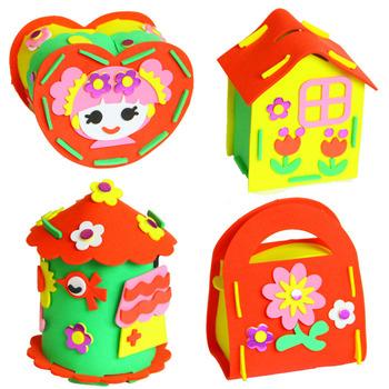 DIY EVA schowek kuferek na skarby skarbonka sztuka i rzemiosło zabawki dla dzieci dzieci sztuka przedszkolna dekoracje świąteczne tanie i dobre opinie fradoo 2 ~ 4 Lat 5 ~ 7 Lat Zwierzęta i Natura DIY Craft piggy bank Chiny certyfikat (3C) Rainbow papieru 21 5*16 5cm