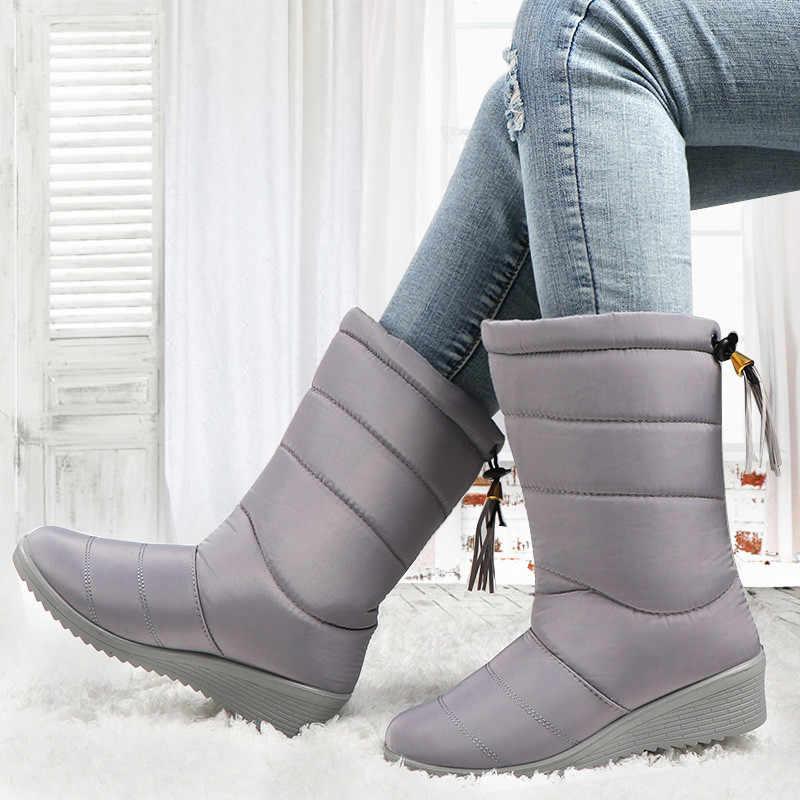 חורף נשים מגפיים עמיד למים ציצית קרסול מגפי למטה שלג מגפי ליידי גומייה חורף נעלי אישה חם פרווה שחור Botas mujer