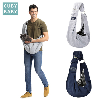 Cuby Hands-Free Reversible Small Dog Cat Two Rings Sling Carrier Bag Outdoor Travel Double-sided Kangaroo Pocket Shoulder Bags such small hands