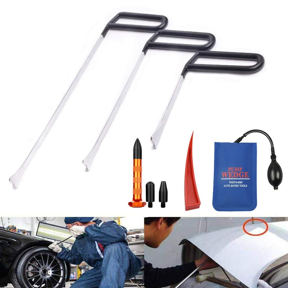 PDR Tools  Car Repair Tools For Auto Body Dent Paintless Repair Kit Car Dent Door Dings Removal Rod Hooks Pump Wedges Tool