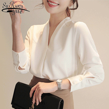 2021 Spring V-neck Womens Tops Long Sleeve Chiffon Blouse Summer New White Female Korean Tops Wild Loose Office Lady Clothing