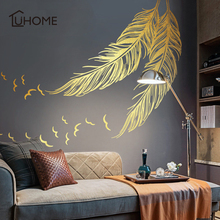 Large Left Right Flying Gold Feather Art Wall Sticker for Home Decor DIY Personality Mural Kid Room Bedroom Decoration 138x172cm