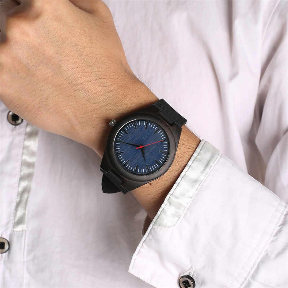 Reloj de madera de ébano, reloj de pulsera de cuero genuino de cuarzo para hombre, reloj de madera Natural para hombre