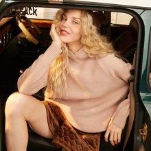 ELFSACK ססגוניות מוצק מינימליסטי Oversive נים סווטשירט נשים 2020 חורף טהור ארוך שרוול קוריאני גבירותיי בסיסית חולצות