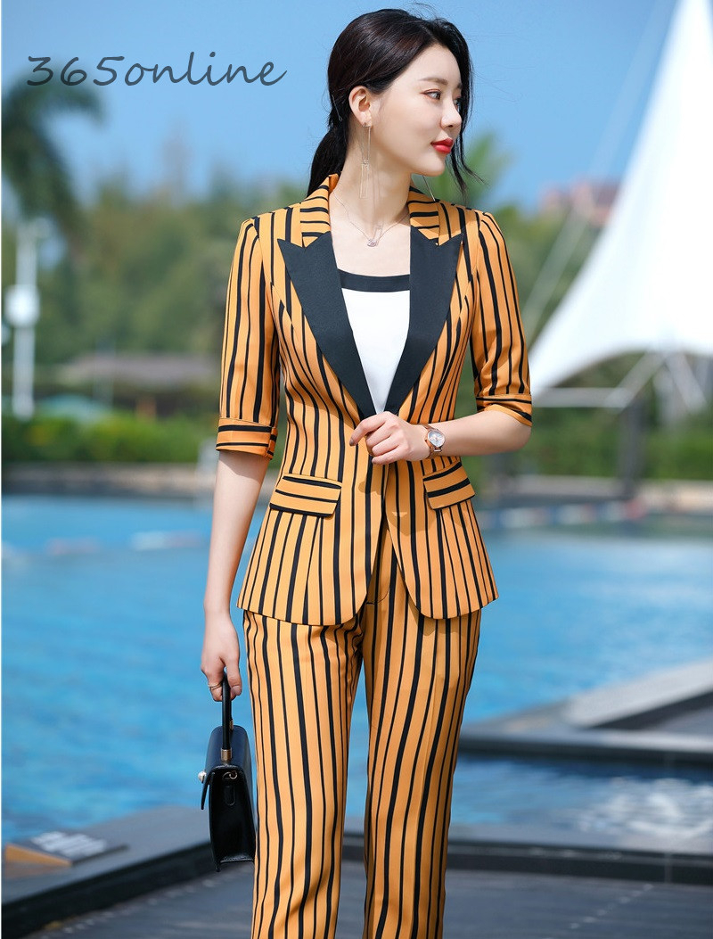 Fashion Striped Formal OL Styles Women Business Suits With Pants And Jackets Coat Spring Summer Female Professional Blazers Set