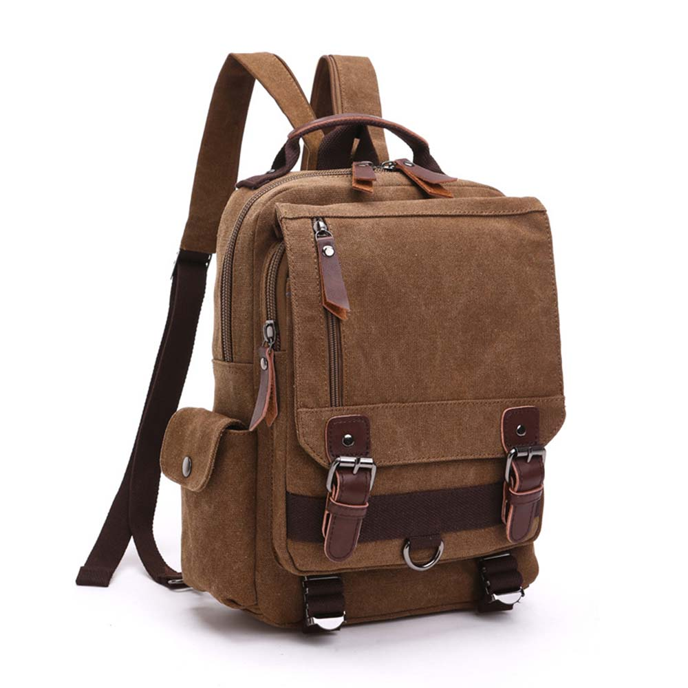 <font><b>Unisex</b></font> Canvas <font><b>Backpack</b></font> Messenger Shoulder Sling Bag School <font><b>Leather</b></font> Satchel Outdoor Crossbody Rucksack (Coffee) image