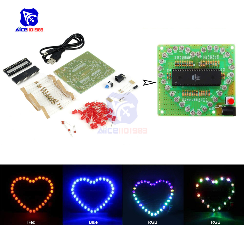 Diymore 51 MCU AT89S52 Heart-Shaped Red/Blue/RGB LED Module Flashing LED Light Electronic Board DIY Kit