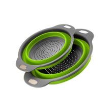 Opvouwbare Siliconen Vergiet Fruit Groente Wasmand Zeef Zeef Inklapbare Afdruiprek Met Handvat Keuken Gereedschap