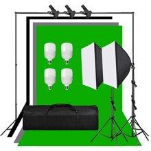 Profesyonel fotoğrafçılık aydınlatma ekipmanları kiti Softbox 4 adet 25W ampul siyah gri yeşil beyaz zemin ekran arka plan standı