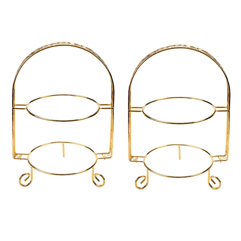 2X Cake Stand Double-Layer Arch-Shaped Golden Fruit Dessert Rack Wedding Birthday Party Decoration Cupcake Stand Gold