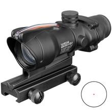 Acog 1x32 táctico Vista de punto rojo verde Real de fibra óptica Riflescope con riel Picatinny para M16 Rifle de caza alcance