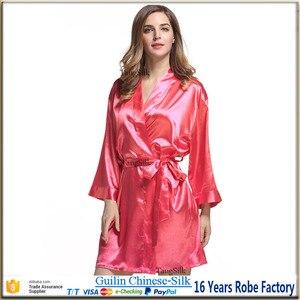 Image 5 - Шелковый халат, атласный коктейльный халат, Свадебная женская ночная рубашка для невесты, халат для подружки невесты