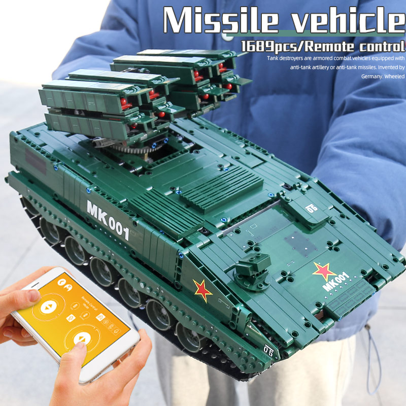 MOULD KING 20001 Military Model The RC HJ-10 Anti-Tank Missile High-Tech Car Building Blocks