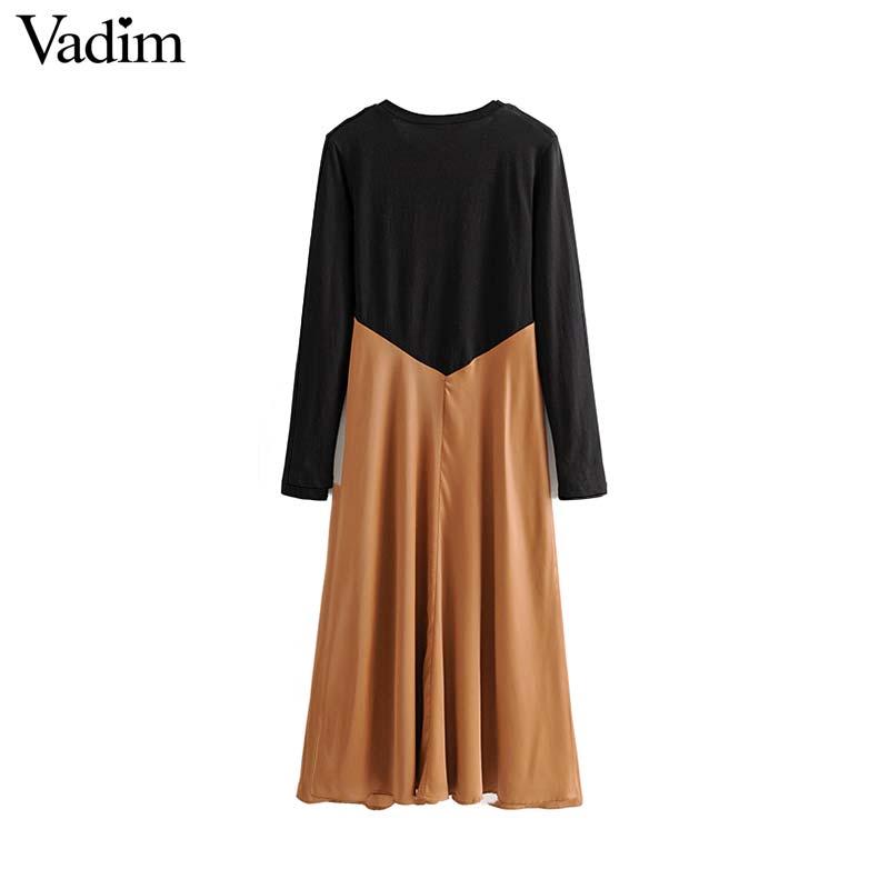 Image 2 - Vadim women chic spliced midi dress patchwork long sleeve O neck elegant female office wear mid calf dresses vestidos QC986Dresses   -