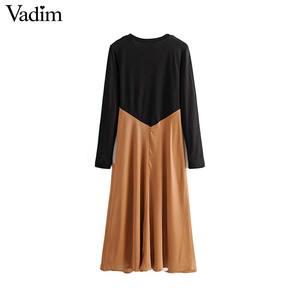 Image 2 - Vadim women chic spliced midi dress patchwork long sleeve O neck elegant female office wear mid calf dresses vestidos QC986