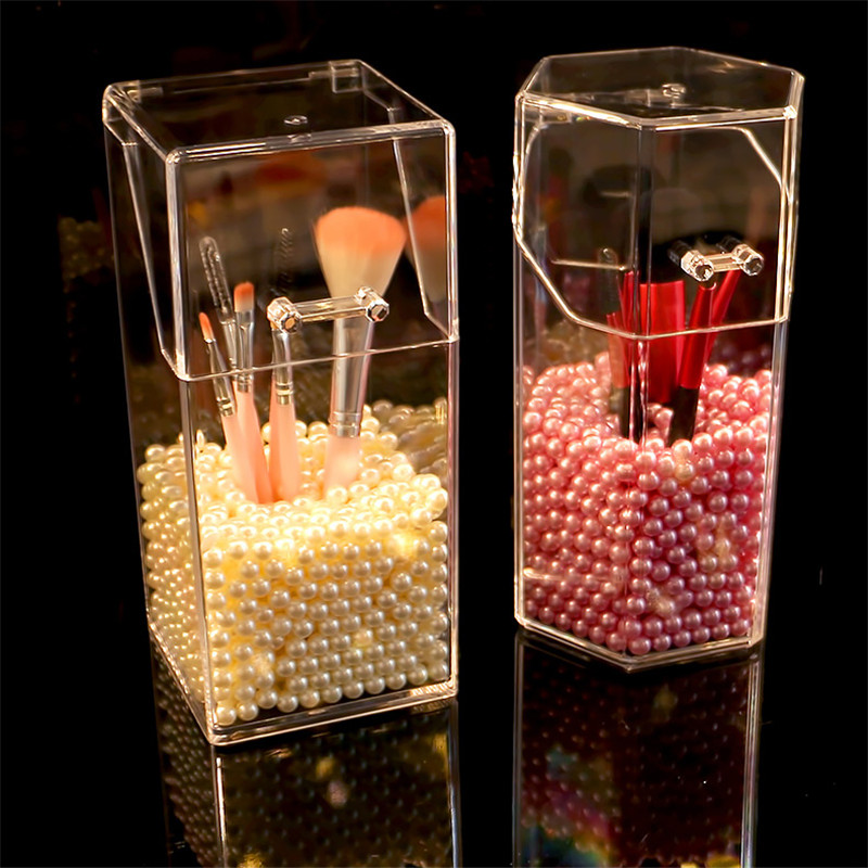 With lid Acrylic Makeup brush Holder Crystal Transparent Makeup brush Holder bucket Manager Cosmetic brush holder Without brush
