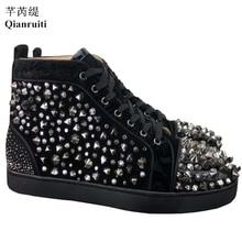 Qianruiti Brand Luxury Spikes Studded Men Sneakers High Top