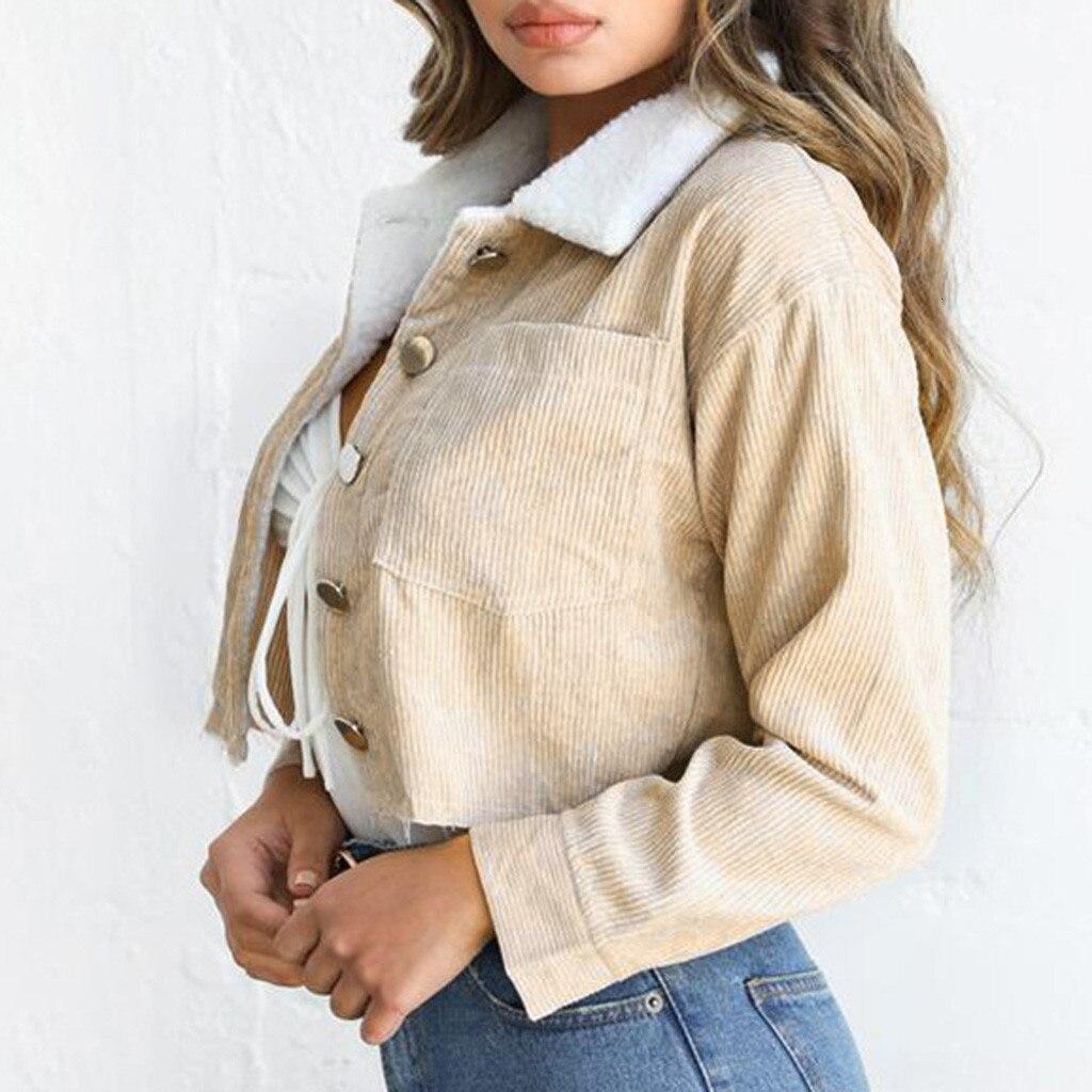 Зимние вельветовые куртки Harajuku женские толстые флисовые Короткие Пальто повседневные однотонные куртки с длинными рукавами и пуговицами и...