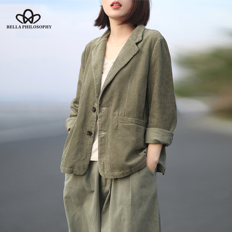 Bella Philosophy Autumn Women Blazer Jacket Vintage Corduroy Female Loose Blazer Street Wear Lady Single Breasted Blazer Outwear