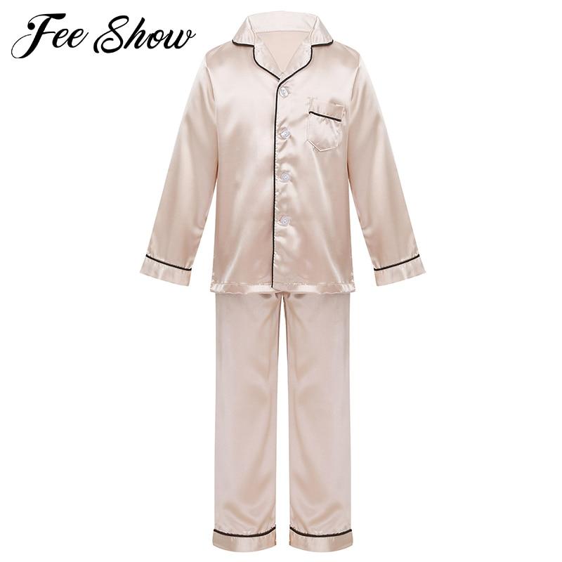 Boys Silk Satin Pajamas Homewear Kid Children Loungewear Sleepwear Set Nightgown