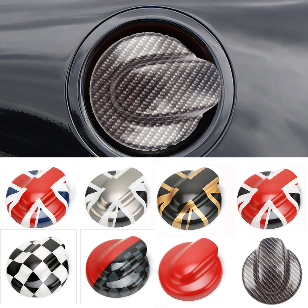 ABS carbon fiber Car Oil Fuel Tank Cap Decorative Shell Sticker Cover Decals For MINI Cooper S R55 Clubman R56 2 0T Car Styling