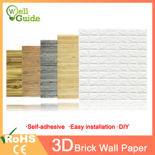 купить 3D Wall Stickers Brick Waterproof Wall paper 3D DIY Self-Adhesive Decor For Bedroom Kids Room Living Room Wallpaper Sticker дешево