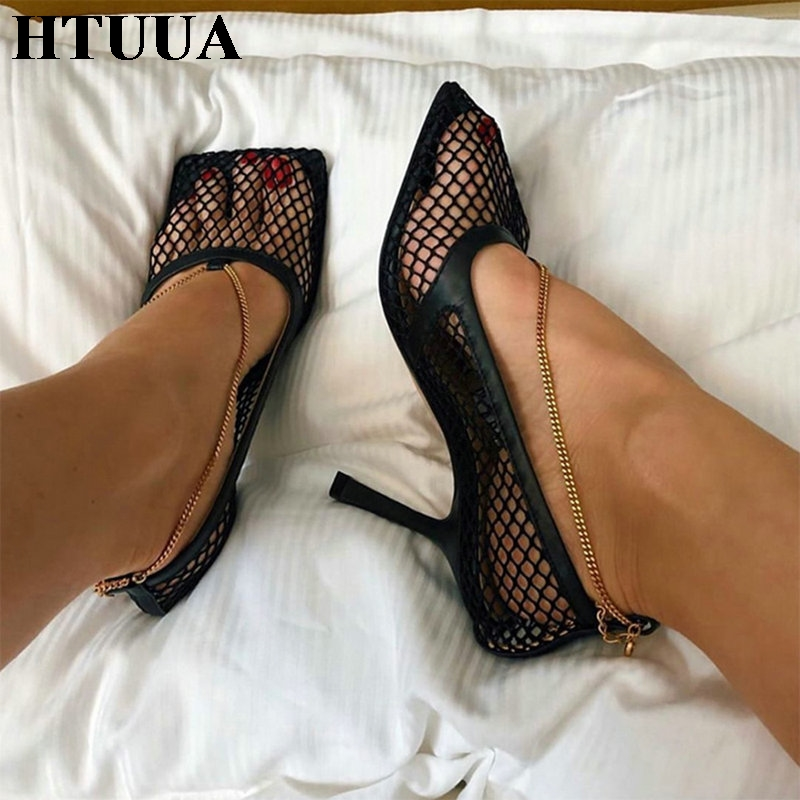 HTUUA Brand Designer Women Pumps Sexy Hollow Mesh Summer Sandals High Heels Party Shoes Woman Square Toe Dress Shoes SX3111