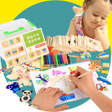 Kid paint set wood puzzles coloring educational Baby Drawing Toys Coloring Notebook toys wooden kindergarten supplies Baby gift