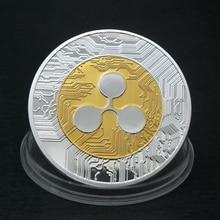 Цвет серебристый, Золотой пульсации монета памятная круглая коллекционеров монет XRP сувенирная монета с Чехол