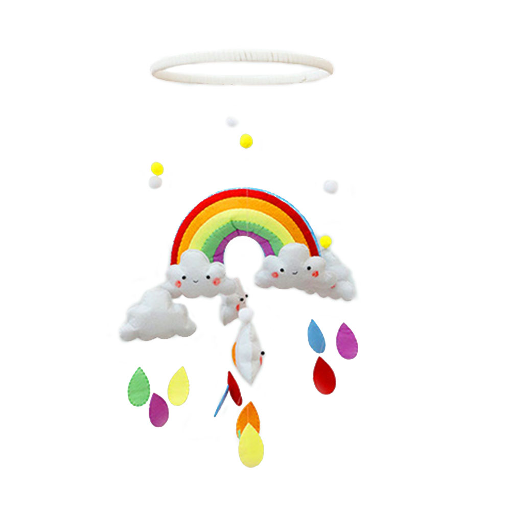 DIY Plastic Handmade Toys Baby Crib Holder Baby DIY Crib Mobile Bed Bell Toy 360 Degree Rotate Rainbow Cloud Wind Chimes Gifts