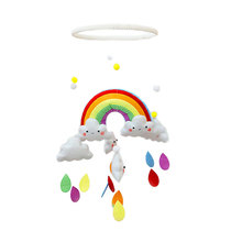 Diy Handmade Make Rainbow Cloud Toys Baby Crib Holder Baby Diy Crib Mobile Bed Bell Toy Rotate Rainbow Cloud Wind Chimes Gifts