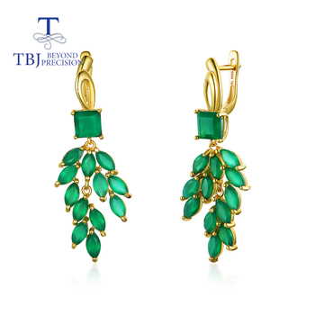 2021 new luxury party clasp earring natural green agate gemstone fine jewelry 925 sterling silver for women in party birthday