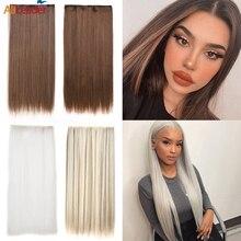 Alileader 24 дюйма синтетические волосы для наращивания на клипсах белые черные коричневые натуральные волосы для наращивания на 5 клипсах длинн...