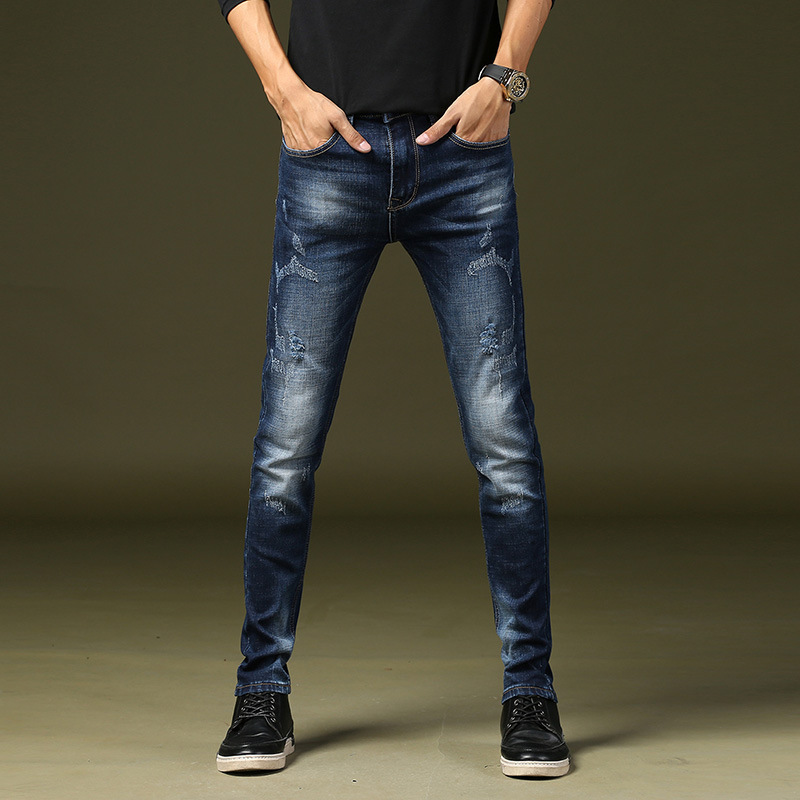 Spring-Men New Style Washing Jeans Youth Skinny Pants Men'S Wear Elasticity Pants Long