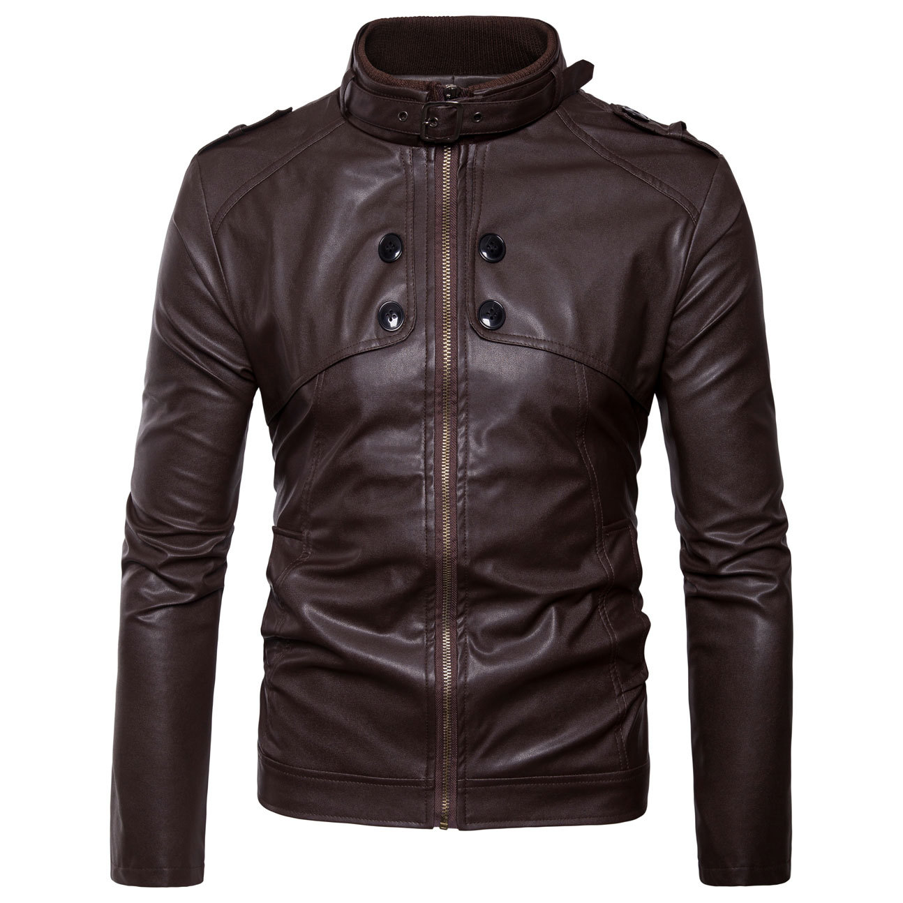 Purchasing Agents Europe And America England Men's Stand Collar Leather Coat Slim Fit Leather Jacket Locomotive Short Leather Co
