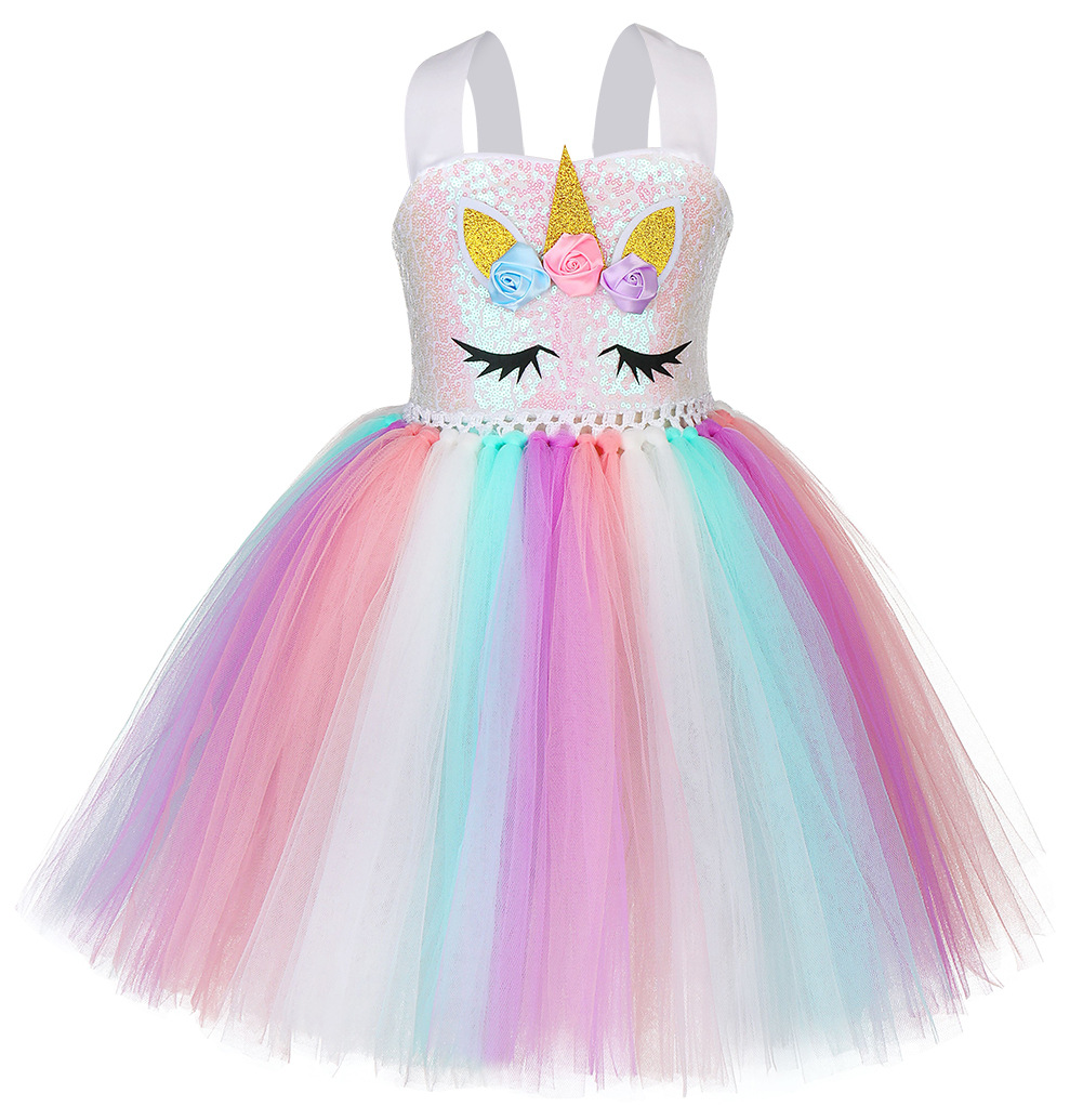 P/&P Unicorn Dress with A Unicorn Hairband Princess Dress for Birthday Party Halloween Carnival Christmas Age 3-10 Years Pink//Blue//Purple