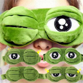 Hot Fashion Cute Travel Eye Mask 3D Sad Frog Padded Shade Cover Sleeping Close/Open Eye Funny Mask Kid Adult Novely Eye Patch cute eyes mask cover plush the sad 3d frog eye mask cover sleeping rest travel sleep anime funny gift 3ju26