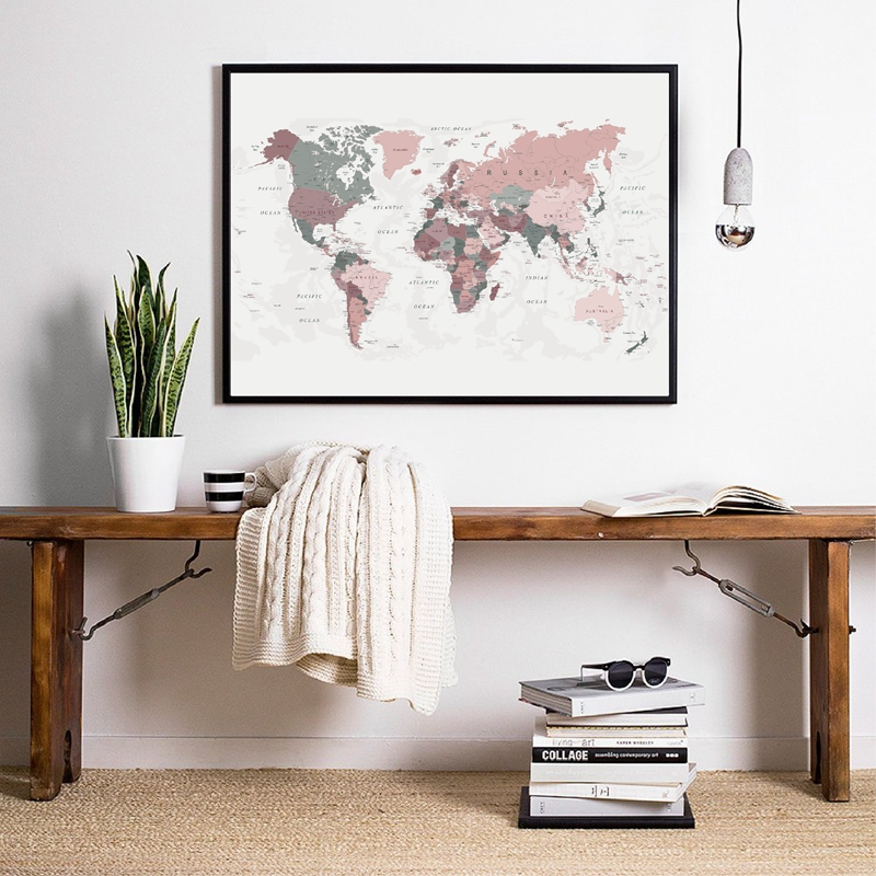 blush pink world map prints