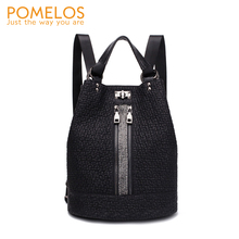 POMELOS New Arrivals backpack women fashion split leather backpack function korean small travel black backpack back bag
